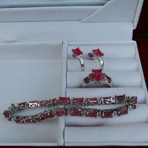 925 Silver & Pink Ice Bracelet, Ring & Earring Set